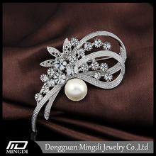 Top sale wholesale pearl brooch pin, bulk korean pearl crystal brooch, pearl brooch
