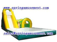 Inflatable green water slide with pool SP-PS034