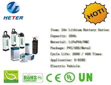 Electric Bike Rechargeable Lifepo4 / Li-ion Battery Pack 24v20Ah
