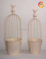 Iron cream bird cage with bucket