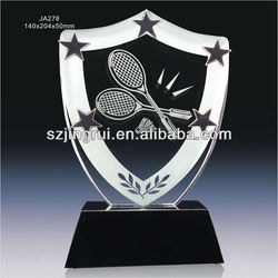 Personal design crystal glass award trophies for badminton JA278
