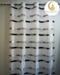 geometric design double layers jacquard sheer curtain for living room