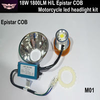 Big sale 12V 18W 1800LM motorcycle led headlight,COB led motorcycle headlight,led motorcycle headlight