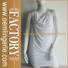 de manga corta al por mayor el mini vestido del club blanco