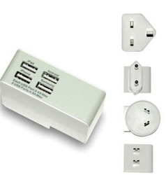24W 5V/4.8A Quad-Port Worldwide International Mains Wall Charger Portable wholesale cell phone charger