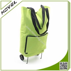 2015 New Green Household Foldable Trolley Shopping Bag