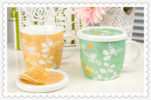 Fresh style New Bone China Material Ceramic cup with lids