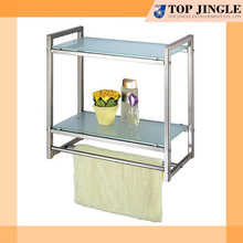 Wall Mounted 2 Tier Tempered Glass Bottom Shelf with Rail