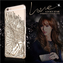 Angel Wings Electroplating 3D Embossed Case Cover For iPhone 6 / iPhone 6 Plus