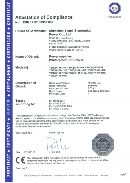 TUV Waterproof 60w/65w 350mA/700mA 0-10v dimming led driver