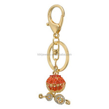 Lucky gold tone metal crystal pumpkin car shaped keychain wholesale
