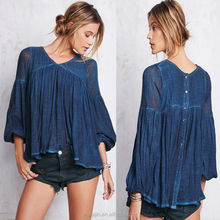 High quality 3/4 sleeve gauze top, ladies button back loose fit cotton blouse