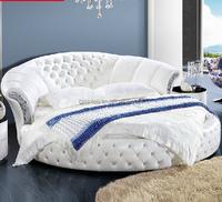 Modern Design Pure White Genuine Leather Round Bed