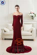 Sexy HMY-S155 Real Model Customized Velvet Off Shoulder with Train Beaded Mermaid Long Sleeves Prom Dress