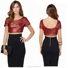 Short sleeve back low neck open fashion sequin tops pattern,ladies tops images