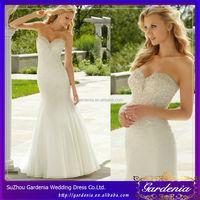 Mermaid Sweetheart Open Back Beaded Applique Organza Court Train Tissue Wedding Dress