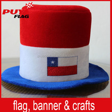 Chile flag color felt top hat carnival hat for football fans