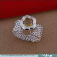 Trendy China Jewel Silver Design Mesh Ring Wholesale For Engagement with gold zircon flower paved