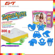 Mystical moving sand art, soft sand toy with plastic sandbox