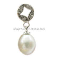 Factory directly CZ Setted Free Lead/Nickel Fresh Water Pearl Jewelry Pendant
