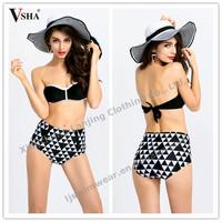 2015 hot new ladies women sexy high waist bikini set black top bandean bikini
