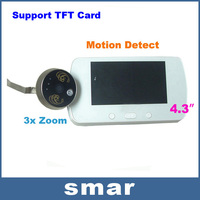 """2013 Newest 4.3"""" LCD Digital Video Door Viewer Peephole 3x Zoom Doorbell IR Camera+ Motion Detect Free shippping"""