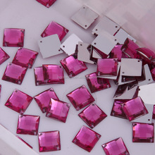 Sew On 12mm fuchisa color square design Acrylic Beads