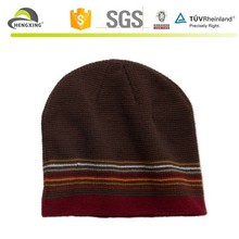 Coffee color Acrylic Knitted long beanie hat/plain blank beanies