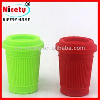 Personalized five star silicone travel mug with lid