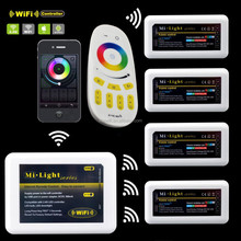 Milight Wifi RGBW RGB White/Warm white led strip Controller 2.4G 12 -24V 24A 4 zone touch Dimmer rf remote controller