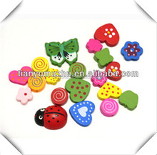 Mixed Multicolor Cute Shape Animal Painted Wood Beads Large