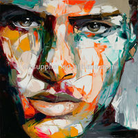 Purely Handmade New Modern Palette knife Expression portrait Face oil painting on canvas by Francoise Nielly