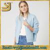 New design blue light short woman customized long sleeve low neck jacket
