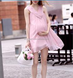China wholesale women pink chiffon sleeveless dress for pregnant women,lady maternity clothing