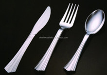 Large Siver Coated Plastic Forks Knife And Spoons,Disposable Plastic Metallic Cutlery