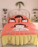 Chinese design cotton baby bedding set orange and yellow patchwork applique style girl crib beddin