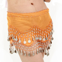Wholesale belly dance props,ladies 2 rows coins chiffon belly dance skirt scarf