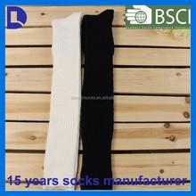 custom cotton warm lady ribbed over knee socks white black stocking girl