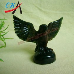 moss agate Gemstone Animal Carving Eagle Sculptures