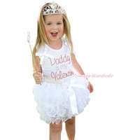 Father's Day Rhinestone Daddy Is My Valentine White Top Girls Petal Skirt NB-8Y