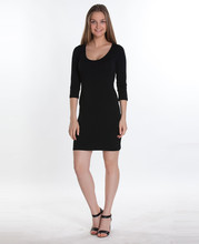 U NECK, 3/4 SLEEVE MINI DRESS