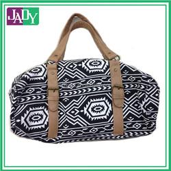 Beach Duffel Bag Aztec Pattern Black White