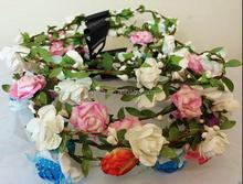 2015 new style flower headband Hair Wreath Floral Head band Halo Flower Crown Headband H5006