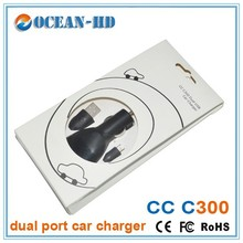Free sample dc 5V 2A dual usb car charger with cable of Miro USB adapter