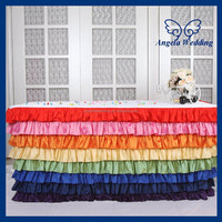 SK002M Wedding hot sale polyester ruffled colorful rainbow steps in table skirting