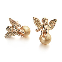 Hot New products Elegant freshwater pearl and diamond stud earrings of fantasy earring wholesale Angle Fashion earring