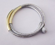 Fashion Metal Bar with beads Elastic Bracelets