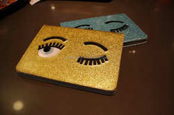 Factory directly sale tablet case cute eyes glitter stand leather sleeve case for ipad 4
