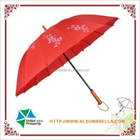 Red pongee with silk screen printing 16 ribs straight umbrella