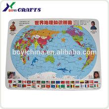 nuevo producto de mapa del mundo paraimprimir los conocimientos educativos rompecabezas de papel para la promoción